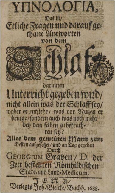 Cover: Georg Grau, Hypnologia, Jena 1688